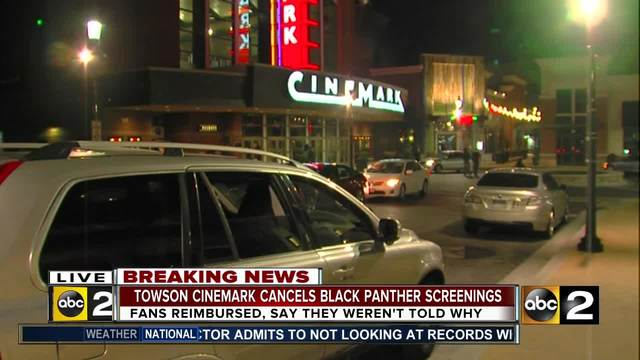 Towson Cinemark cancels -Black Panther- screenings