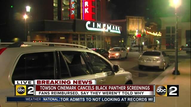 Towson Cinemark cancels -Black Panther- screenings